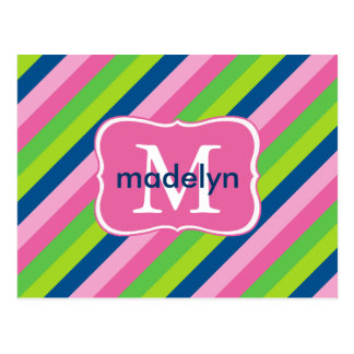 Preppy Stripes Of Pinks, Greens & Blue Monogram Postcard