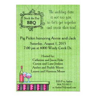 "Preppy Summer BBQ Stock the Bar Invitation 5.5"" X 7.5"" Invitation Card"