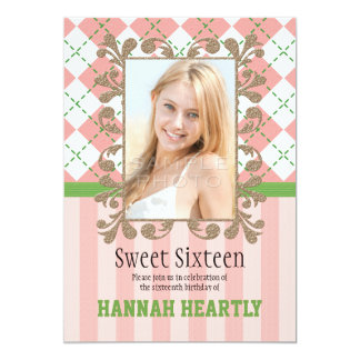 Preppy Sweet 16 Invitations Pink and Green