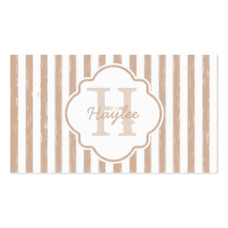 Preppy Tan Painted Stripes Monogram and Name Double-Sided Standard Business Cards (Pack Of 100)