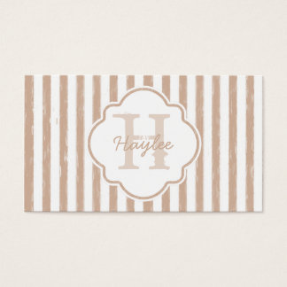 Preppy Tan Painted Stripes Monogram and Name Business Card