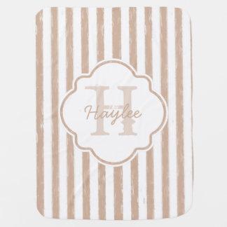 Preppy Tan Painted Stripes Monogram and Name Receiving Blanket