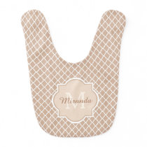 Preppy Tan Quatrefoil Mongogram With Name Baby Bib