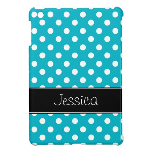 Preppy Teal Blue and Black Polka Dots Personalized Cover For The iPad Mini