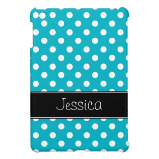 Preppy Teal Blue and Black Polka Dots Personalized iPad Mini Cases