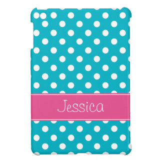 Preppy Teal Blue and Pink Polka Dots Personalized Case For The iPad Mini