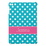 Preppy Teal Blue and Pink Polka Dots Personalized Cover For The iPad Mini