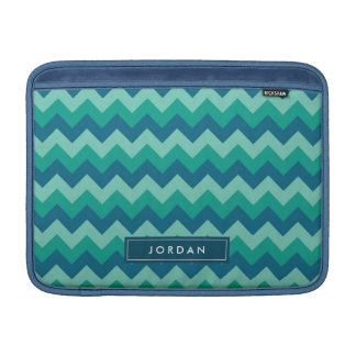 Preppy Teal Blue Chevron Personalized with Name MacBook Sleeve