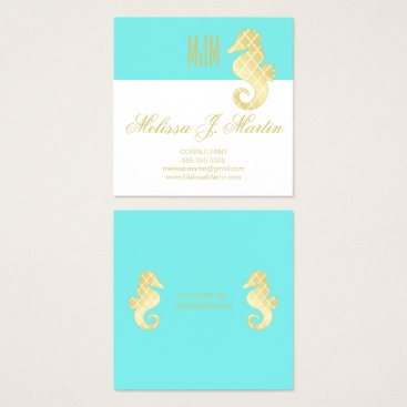 Beach Themed Preppy Teal Gold Seahorse Social Media Profile Square Business Card