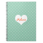 Preppy teal polka dot heart personalized journal notebook