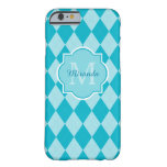 Preppy Turquoise Argyle Girly Monogram and Name Barely There iPhone 6 Case