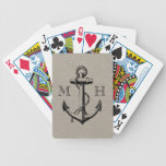 Preppy Vintage Anchor Wedding Monogram Bicycle Playing Cards
