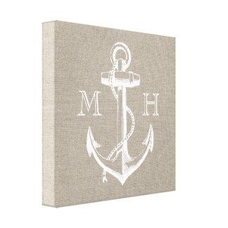 Preppy Vintage Anchor Wedding Monogram Gallery Wrap Canvas