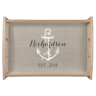 Preppy Vintage Anchor Wedding Monogram Serving Tray