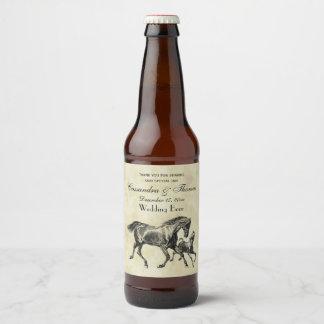Preppy Vintage Horses Mother Baby Foal Beer Bottle Label