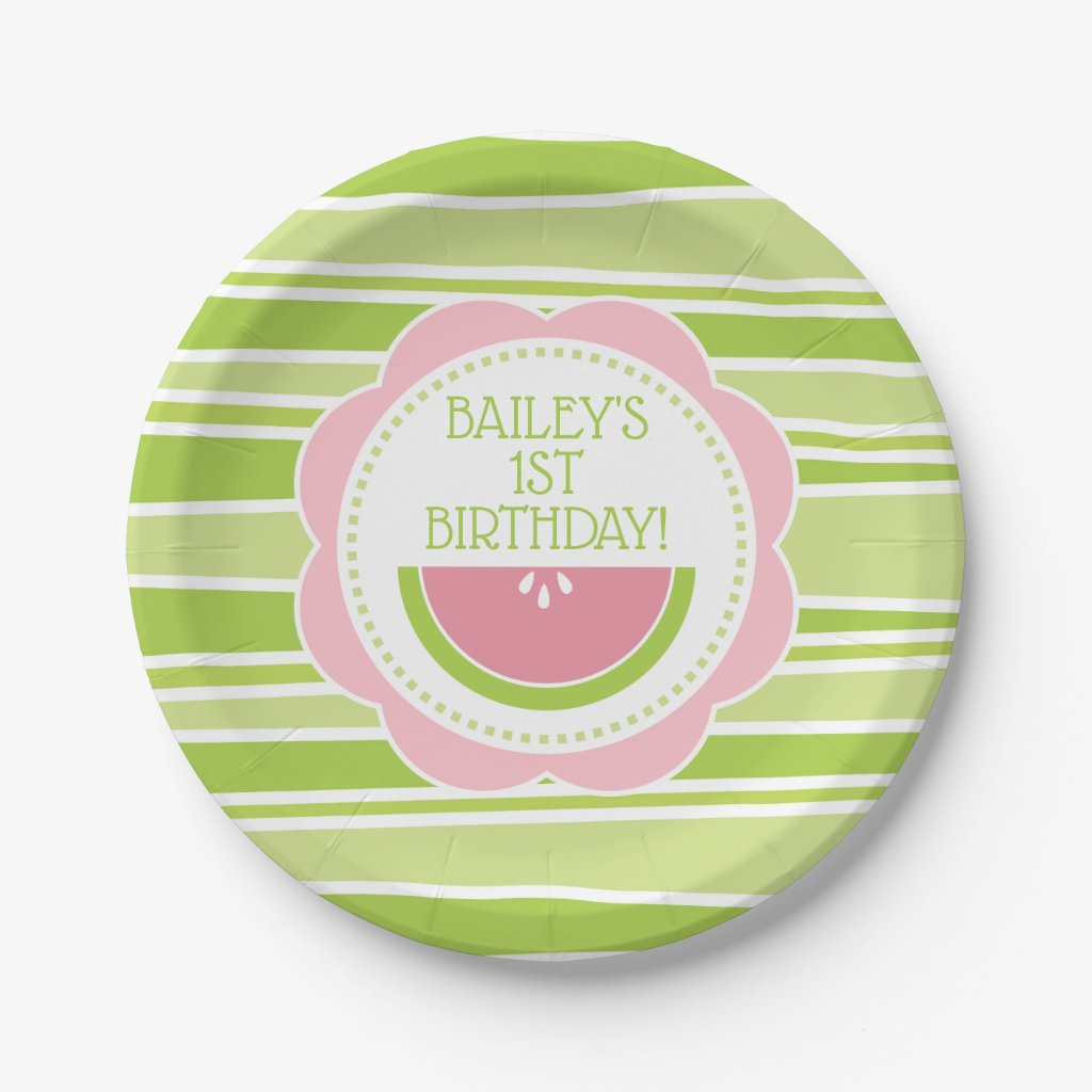 Preppy Watermelon 1st Birthday Pink and Green Paper Plate