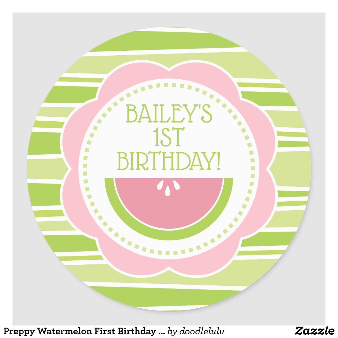 Preppy Watermelon First Birthday Pink Green Classic Round Sticker