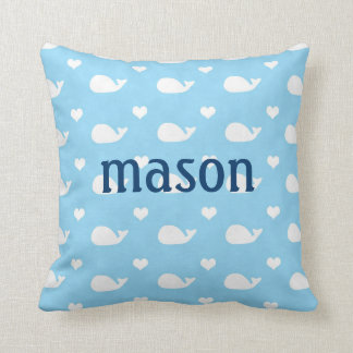 Preppy Whale Baby Boy Blue Pillow