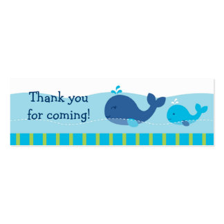 Preppy Whale Goodie Bag Tags Gift Tags Double-Sided Mini Business Cards (Pack Of 20)