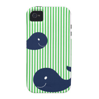 Preppy Whale Navy Green Stripe iphone 4 4s case