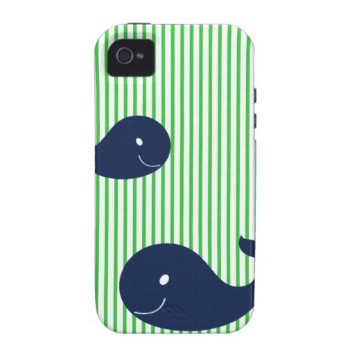 Preppy Whale Navy Green Stripe iphone 4 4s case Case-Mate iPhone 4 Covers