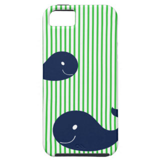 Preppy Whale Navy Green Stripe iphone 5  case iPhone 5 Covers