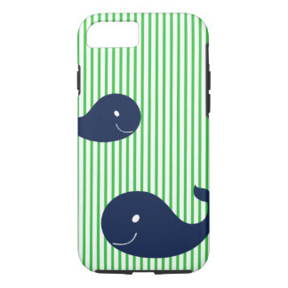 Preppy Whale Navy Green Stripe iPhone 7 case