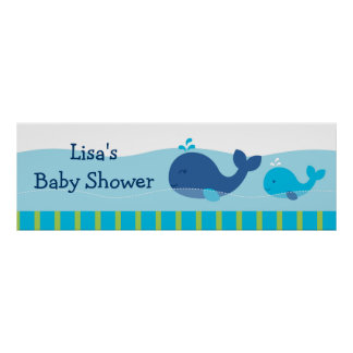 Preppy Whale Personalized Banner Sign Poster