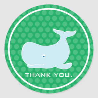 Preppy Whale - Thank You Round Sticker