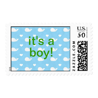 Preppy Whales New Baby Boy or Shower Stamp