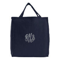 Preppy White Script Monogram Embroidered Navy Bag