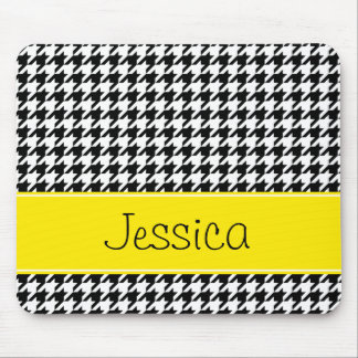 Preppy Yellow and Black Houndstooth Personalized Mouse Pad