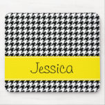Preppy Yellow and Black Houndstooth Personalized Mousepads
