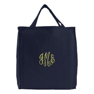 Preppy Yellow Script Monogram Embroidered Navy Bag