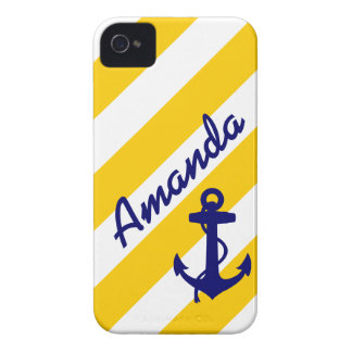 PREPPY YELLOW STRIPES BLUE ANCHOR YOUR NAME iPhone 4 COVER