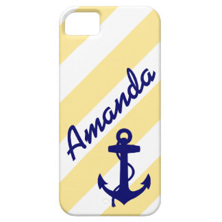 PREPPY YELLOW STRIPES BLUE ANCHOR YOUR NAME iPhone 5 COVER