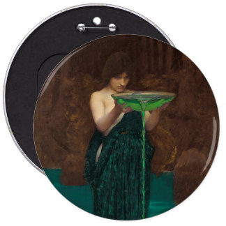 PreRaphaelite Art Circe Invidiosa Button