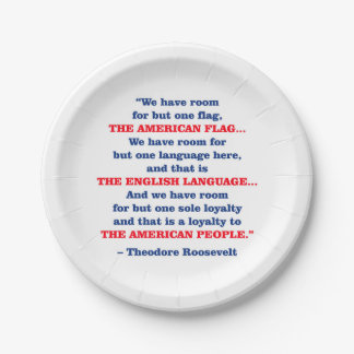 PRES26 ONE FLAG PAPER PLATE