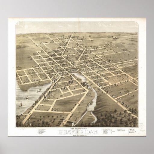 Presa de 1867 castores, mapa panorámico de la opin poster