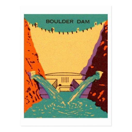 Presa de Boulder del Matchbook del vintage del Postal