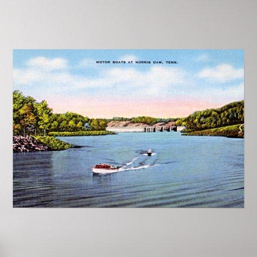 Presa de Norris, canotaje de Tennessee en 1950 Impresiones