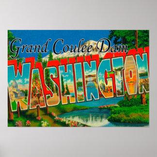 Presa magnífica de Coulee, Washington - letra gran Posters