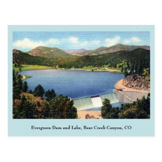 Presa y lago imperecederos barranco del vintage d postales