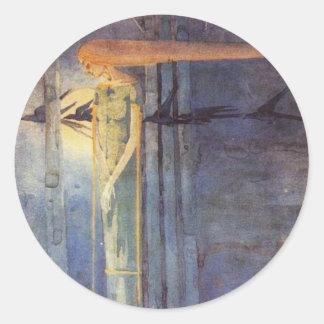 Presagio enfermo (1893) pegatina redonda