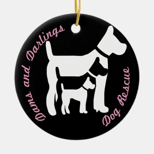 Presas y queridos (ornamento del logotipo del adorno navideño redondo de cerámica