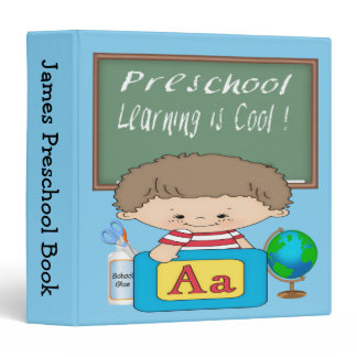 """Preschool Boy Learning is Cool 1.5"""" Binder"""