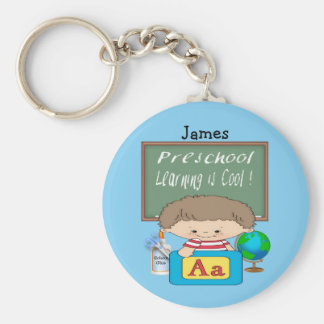 Preschool Boy Learning is Cool Round Key Chain