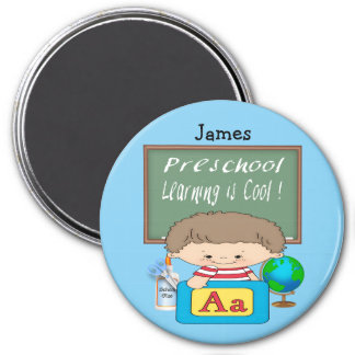 Preschool Boy Learning is Cool Round Magnet