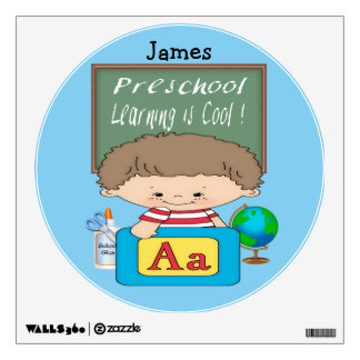 Preschool Boy Learning is Cool Round Wall Decal