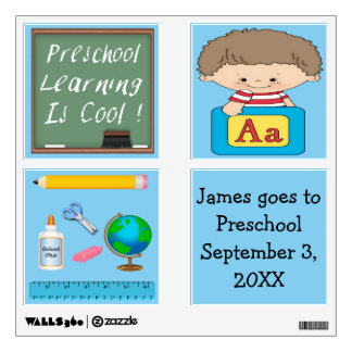 Preschool Boy Learning is Cool Square Wall Decal
